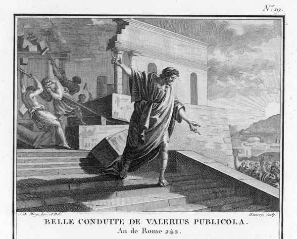 Publius Valerius Publicola, a Roman Consul, to dissipate suspicion of his ambitions, destroys his own splendid house on top of the Velian Hill - an instance of Roman high-mindedness and self-sacrifice