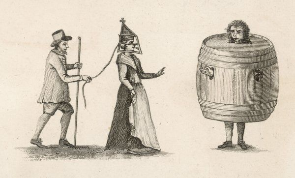 Two forms of punishment for domestic misdeeds. A woman is led by a bridle and a man is encased in a very large barrel