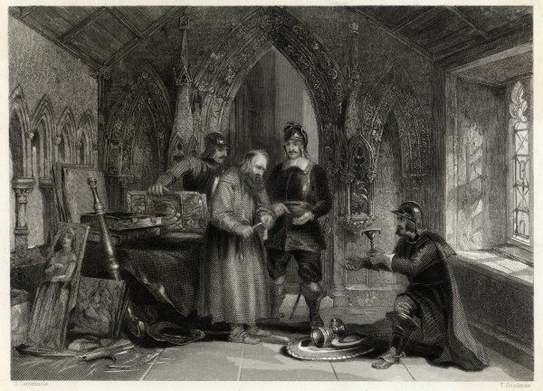 PURITANS - Puritan soldiers plunder a monastery during the English Civil War