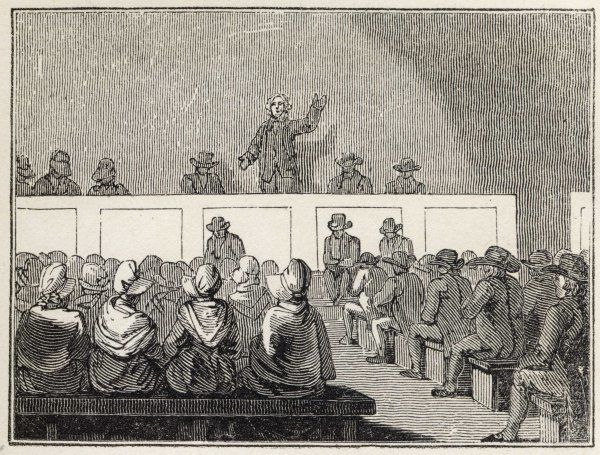 A Quaker meeting in the 19th century