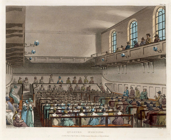 A Quakers Meeting in a London meeting-house : the men and women are seated separately, the women wearing their bonnets, the men their hats