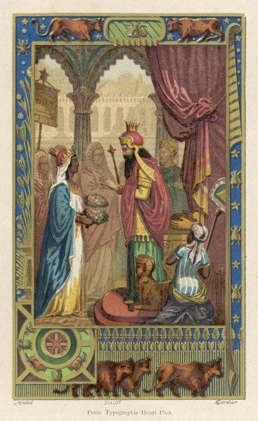 Solomon's wisdom is tested by Nicaule, Queen of Sheba. She asks him which of two bouquets is real, and which is artificial -- the wise king uses bees to spot the difference