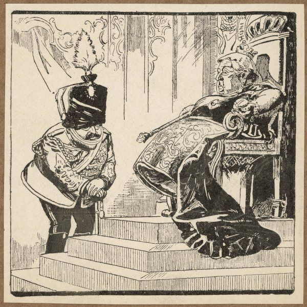 QUEEN VICTORIA Cartoon showing Edward (POW) and Queen Victoria (he asks if she would like to have a rest from sitting on the throne). Date: 1819 - 1901