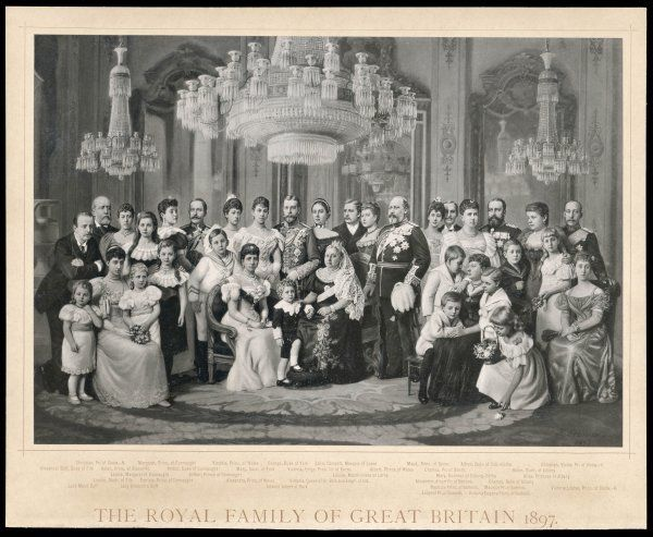 Queen Victoria (1819 - 1901) surrounded by some of her family to celebrate her Diamond Jubilee