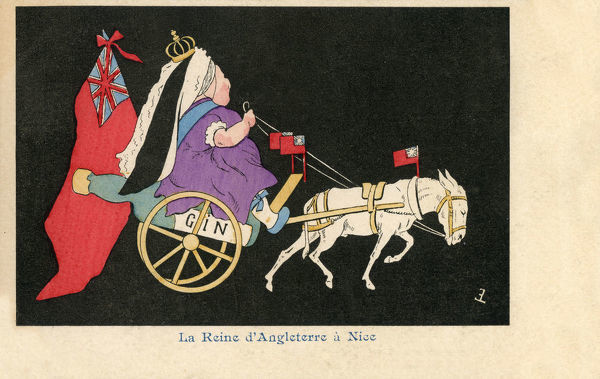 Queen Victoria in Nice, France - a rather (!) disrespectful late 19th century French satirical caricature. In 1882, Queen Victoria began her winter affair with the Cote dAzur, she would arrive bearing extensive food and drink supplies