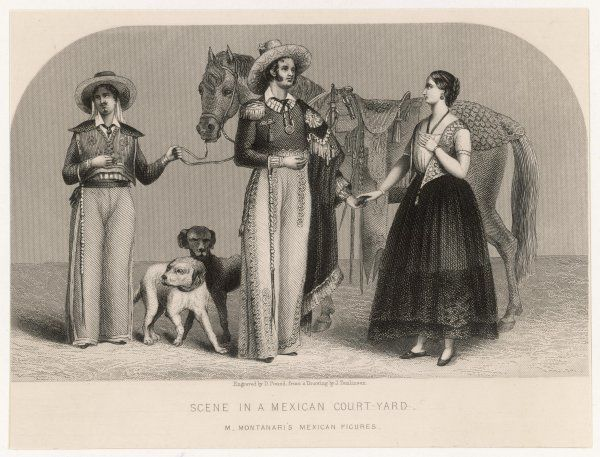 Group of Mexicans in traditional dress with horse and dogs