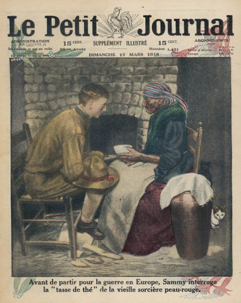 An American soldier consults a native American tea-leaf reader before he leaves for the war in Europe