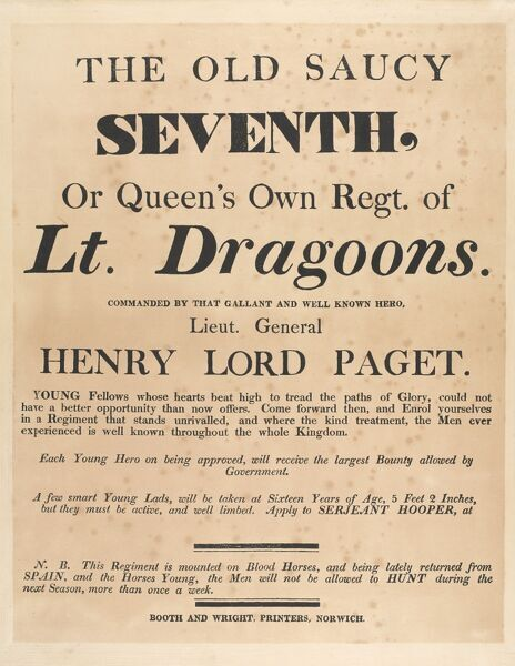 Recruiting poster for the 7th Regiment of Light Dragoons