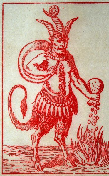 RED DEVIL/3 HORNED. Red Devil with 3 horns, tail and goats legs pours money into the fire