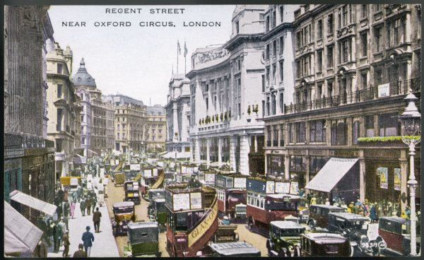 REGENT STREET 1920. Looking north up Regent Street, London, with buses, cars and cabs