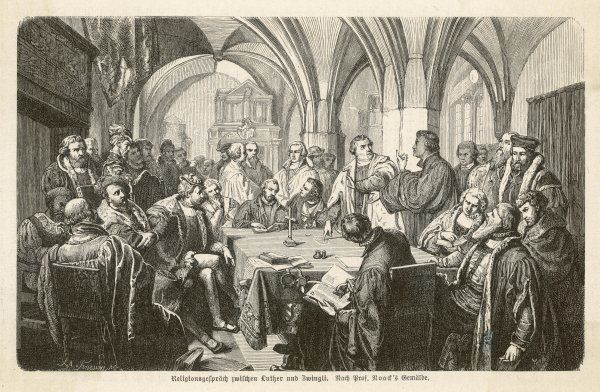 Two protestant churchmen, Luther and Zwingli, engage in a religious debate
