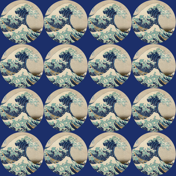 Repeating Pattern - Hokusai Great Wave - Circles. *PLEASE NOTE that the magnifying glass is solely to show the detail of the repeating pattern and will not feature on the final file.*
