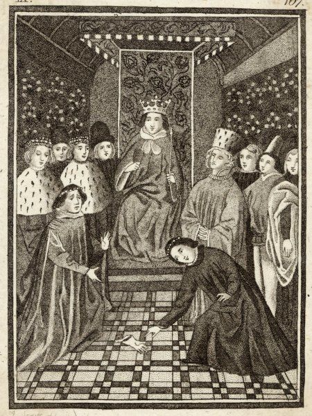 King Richard II overseeing an Appeal of Treason. This process was used three times during Richard's reign, the first one being in November 1387, when the Duke of Gloucester, the Earl of Arundel and the Earl of Warwick accused five of the king's favourites