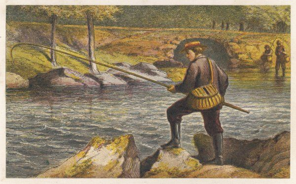 RIVER FISHING 1870. Fishing from the riverbank