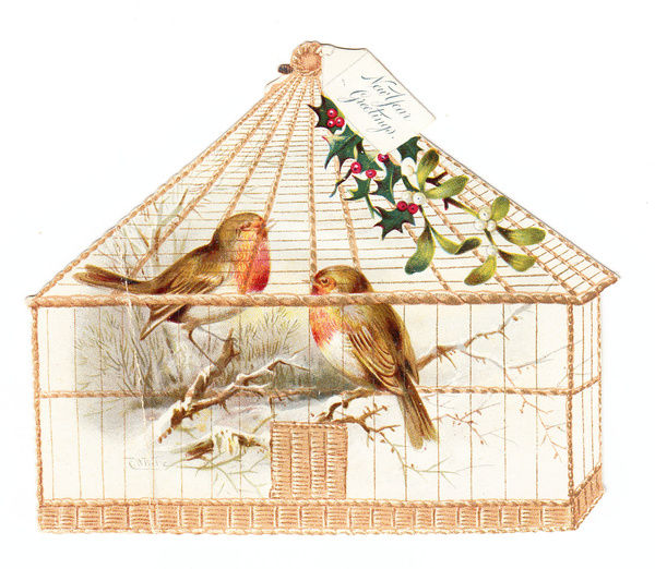 Robins in a cage on a cutout New Year card