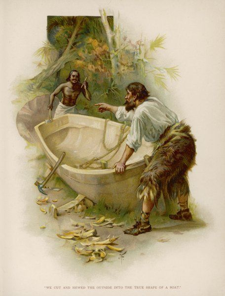 Robinson Crusoe and Friday build the boat