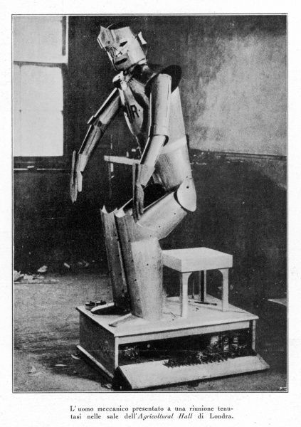One of the cast from Karel Capek's science fiction play of 1921, 'R.U.R. (Rossum's Universal Robots)'. Capek was a Czech writer who made the word 'robot' popular, though he credited its invention to his brother Josef