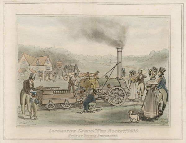 The Rocket 1830. George Stephenson's 'Rocket' being admired by the majority of onlookers