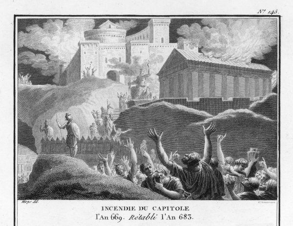 The Capitol at Rome is destroyed by an unexplained fire