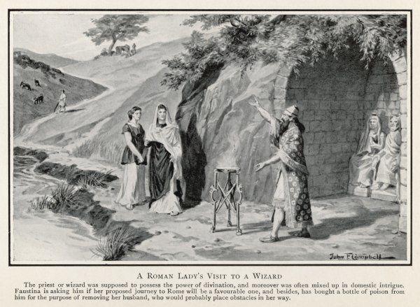 A Roman lady in Britain consults a native magician