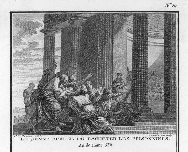 SECOND PUNIC WAR: The Roman Senate refuses to ransom prisoners taken by the enemy in battle, because to do so would not be honourable, and to pay so many ransoms would be very costly