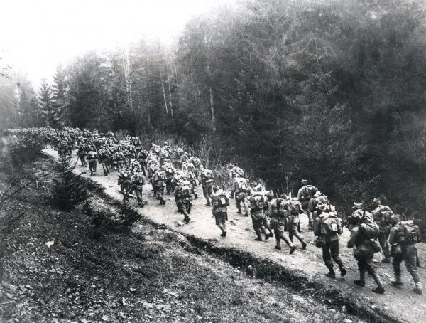 Romanian troops on the march, Carpathians, WW1