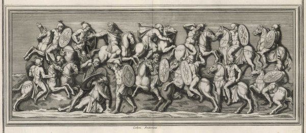 Cavalry of emperor Marcus Aurelius Antoninus in action against the Quadi and Marcomanni of the Danube region