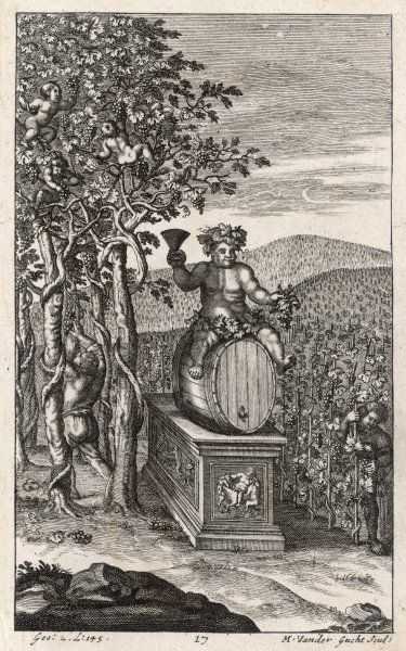 Romans tending their vines, while Bacchus presides over the activities