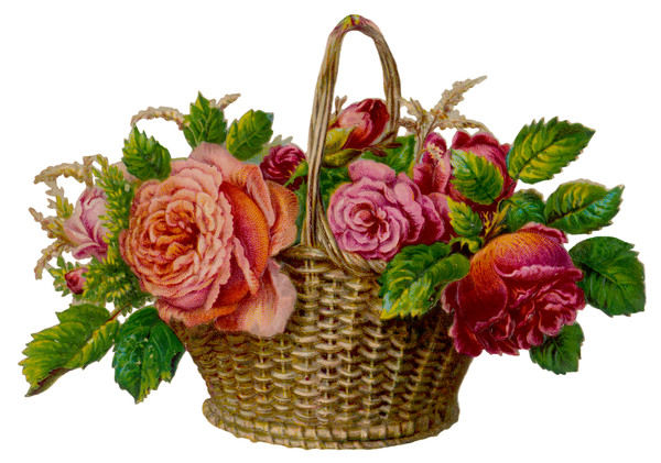 ROSES IN A BASKET. A decorative arrangement of roses in wicker basket