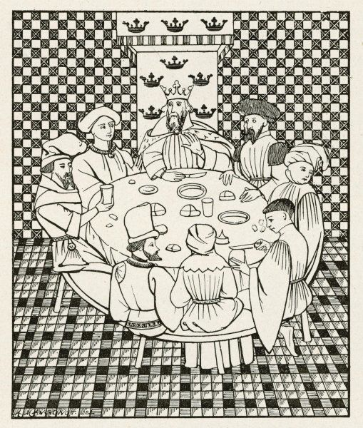 Round Table & Seven. Arthur and seven of his knights dine at the Table Ronde