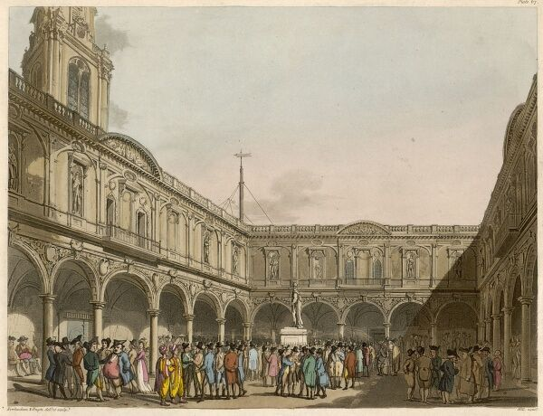 An exterior scene at the Royal Exchange with lots of people milling about
