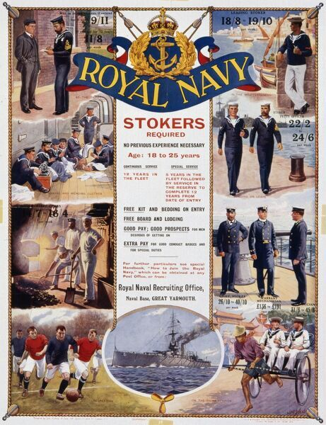 Royal Navy recruitment poster. Stokers required, no previous experience necessary, age 18 to 25 years. Apply to the Royal Navy Recruiting Office, Naval Base, Great Yarmouth