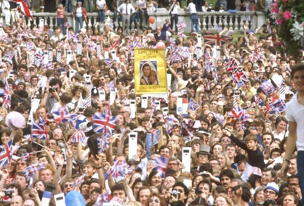 Huge crowds gathered to witness and celebrate the wedding of Prince Charles to Lady Diana Spencer on 29 July 1981. 1981