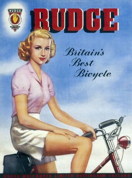 Poster advertising bicycles by Rudge and Whitworth of Nottingham, England showing a young lady from around 1940 perched on one of their models