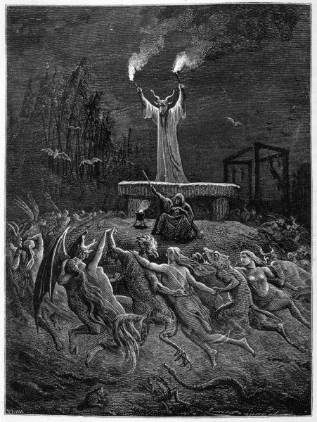 A horned devil presides over the sabbat while demons and lightly clad witches dance frenziedly round him