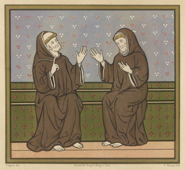 SAINT GALL (on left) he marvels as Postumien tells him about his adventures as a missionary