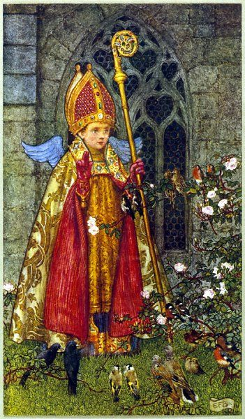 SAINT VALENTINE depicted here as boy bishop ; he was martyred on February 14 day when birds are supposed to pair, hence 'Saint Valentine's Day'