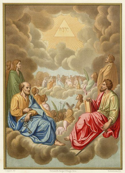Saints Peter and Paul seat themselves on clouds, while others wonder at the glory of God