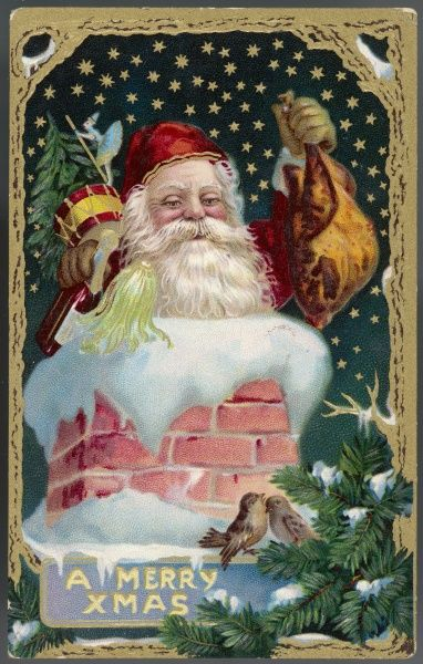 Father Christmas disappears down a chimney with a sackful of presents