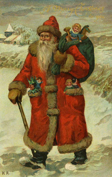 Santa Claus with a sack of toys