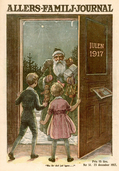 Santa visits a Swedish household, not via the chimney, but presenting himself at the front door
