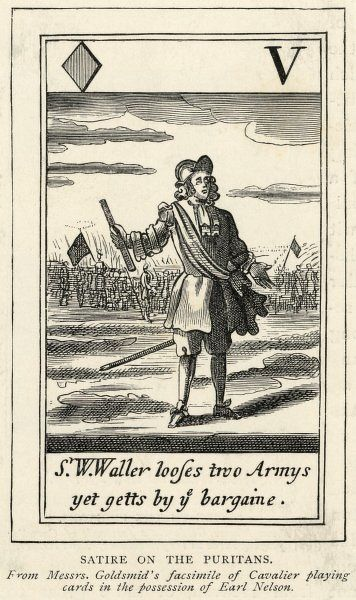 A satirical view of a Puritan and his military skills. 'S W Waller looses two armys yet getts by ye bargaine'