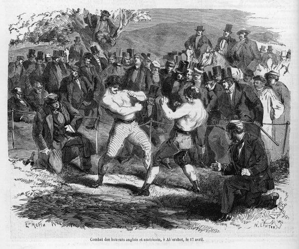 Tom Sayers squares up to John Heenan in the most celebrated prize fight of the nineteenth century. It eventually concluded as a draw
