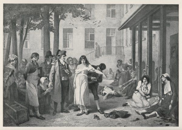 A scene at La Salpetriere, Paris, where Philippe Pinel orders the manacles removed from the mental patients
