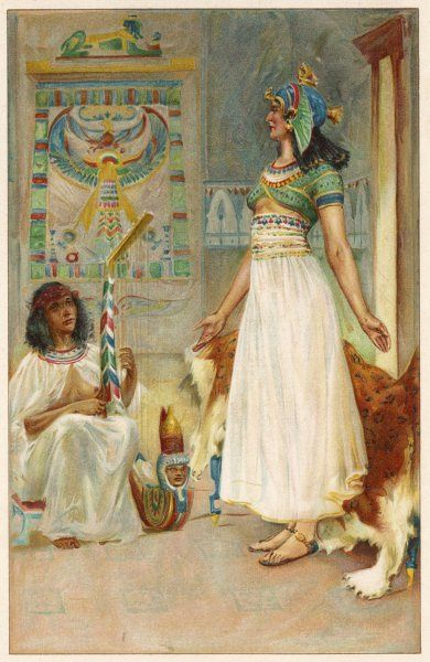 A scene from Shakespeare's Roman play, Antony and Cleopatra, showing Cleopatra standing (right), with one of her servants seated (left) playing a stringed instrument