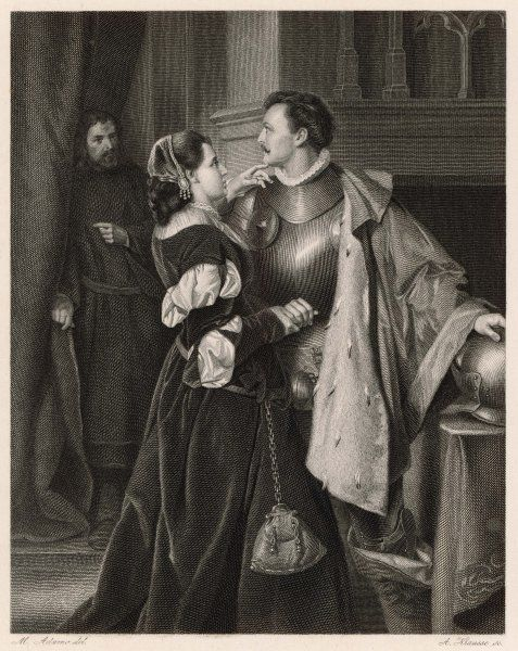 Scene from Shakespeare's history play, Henry IV Part I, in which Hotspur (Henry Percy, son of the Earl of Northumberland) says goodbye to his wife, Lady Percy, before he goes into battle. Sadly, he does not return