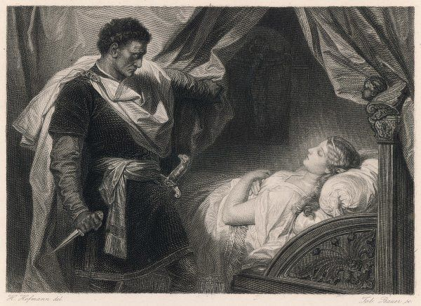 A scene from Shakespeare's tragedy, Othello, in which Othello approaches the sleeping Desdemona, whom he wrongly suspects of infidelity. 'Put out the light, and then put out the light.'
