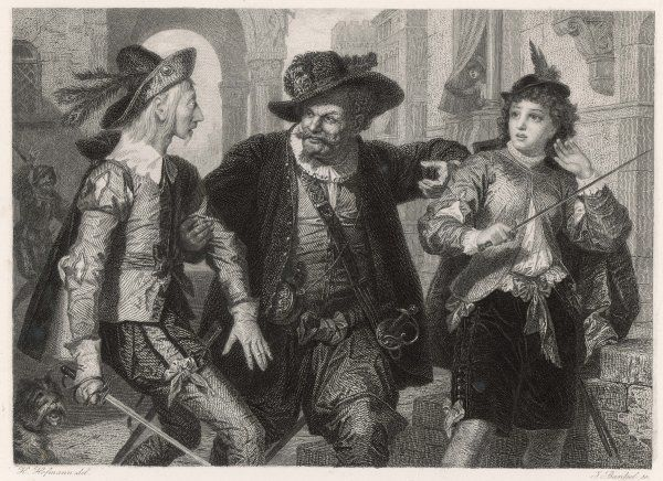 A scene from Shakespeare's comedy, Twelfth Night, in which Sir Toby Belch encourages the reluctant duellists, Sir Andrew Aguecheek and the page Cesario (Viola disguised)