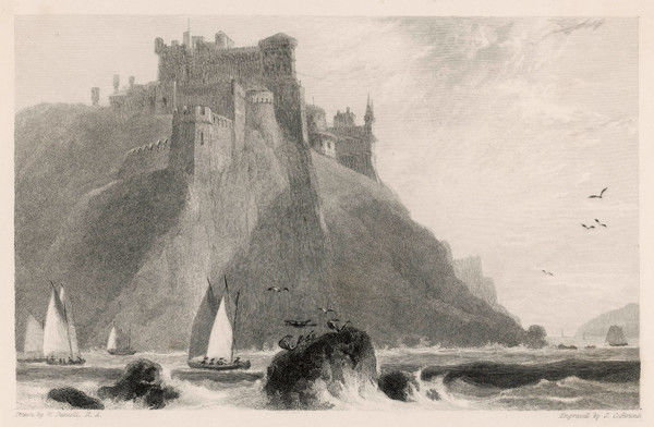 The castle perched on a cliff- top in Ayrshire