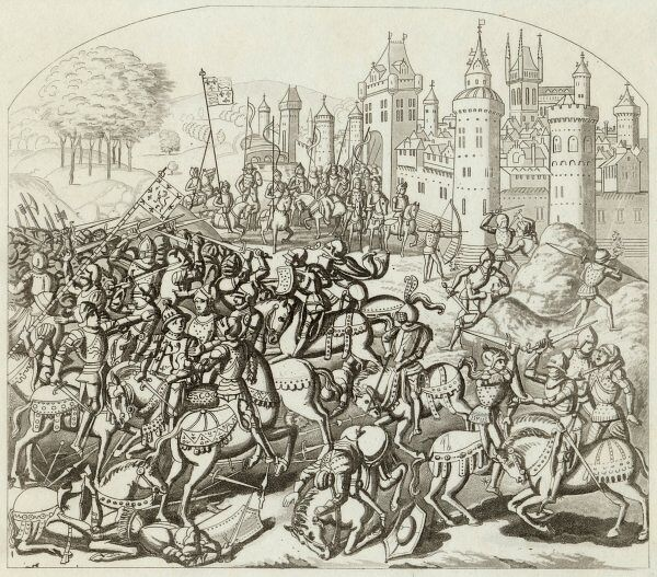 King David of Scotland in battle at Neville's Cross, Newcastle on Tyne against Philippa of Hainault, where he is defeated
